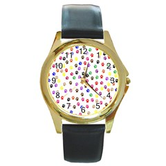 Paw Prints Dog Cat Color Rainbow Animals Round Gold Metal Watch