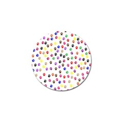 Paw Prints Dog Cat Color Rainbow Animals Golf Ball Marker