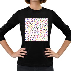 Paw Prints Dog Cat Color Rainbow Animals Women s Long Sleeve Dark T-Shirts