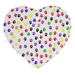 Paw Prints Dog Cat Color Rainbow Animals Heart Ornament (Two Sides)