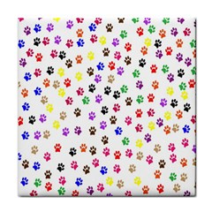 Paw Prints Dog Cat Color Rainbow Animals Face Towel