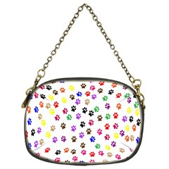 Paw Prints Dog Cat Color Rainbow Animals Chain Purses (One Side)