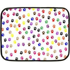 Paw Prints Dog Cat Color Rainbow Animals Double Sided Fleece Blanket (Mini)