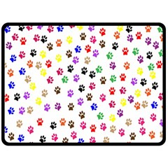 Paw Prints Dog Cat Color Rainbow Animals Fleece Blanket (Large)