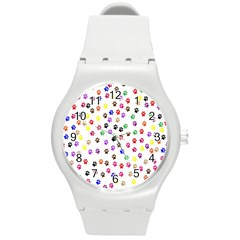 Paw Prints Dog Cat Color Rainbow Animals Round Plastic Sport Watch (M)