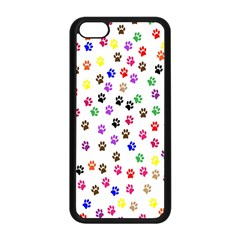 Paw Prints Dog Cat Color Rainbow Animals Apple iPhone 5C Seamless Case (Black)