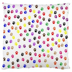 Paw Prints Dog Cat Color Rainbow Animals Large Flano Cushion Case (Two Sides)