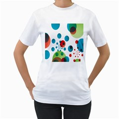 Polka Dot Circle Red Blue Green Women s T-Shirt (White) (Two Sided)