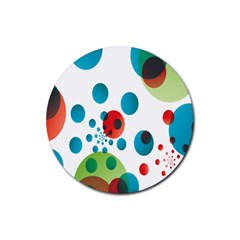 Polka Dot Circle Red Blue Green Rubber Round Coaster (4 pack)
