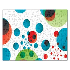 Polka Dot Circle Red Blue Green Rectangular Jigsaw Puzzl