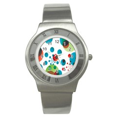 Polka Dot Circle Red Blue Green Stainless Steel Watch
