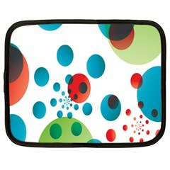 Polka Dot Circle Red Blue Green Netbook Case (Large)