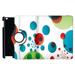 Polka Dot Circle Red Blue Green Apple iPad 2 Flip 360 Case