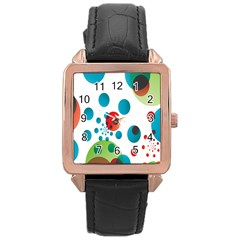 Polka Dot Circle Red Blue Green Rose Gold Leather Watch