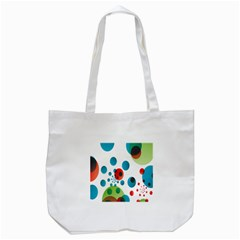 Polka Dot Circle Red Blue Green Tote Bag (White)