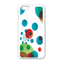Polka Dot Circle Red Blue Green Apple iPhone 6/6S White Enamel Case