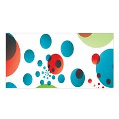 Polka Dot Circle Red Blue Green Satin Shawl