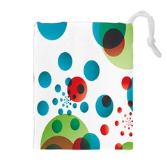 Polka Dot Circle Red Blue Green Drawstring Pouches (Extra Large)