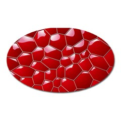 Plaid Iron Red Line Light Oval Magnet