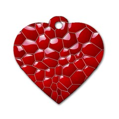 Plaid Iron Red Line Light Dog Tag Heart (Two Sides)