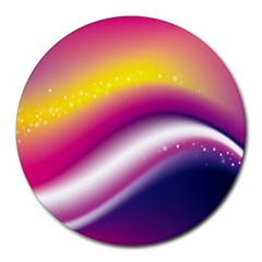 Rainbow Space Red Pink Purple Blue Yellow White Star Round Mousepads