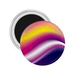 Rainbow Space Red Pink Purple Blue Yellow White Star 2.25  Magnets