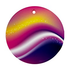 Rainbow Space Red Pink Purple Blue Yellow White Star Ornament (Round)