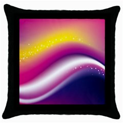 Rainbow Space Red Pink Purple Blue Yellow White Star Throw Pillow Case (Black)