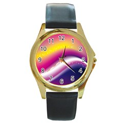 Rainbow Space Red Pink Purple Blue Yellow White Star Round Gold Metal Watch