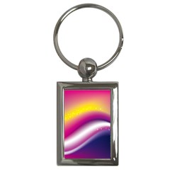 Rainbow Space Red Pink Purple Blue Yellow White Star Key Chains (Rectangle)