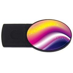 Rainbow Space Red Pink Purple Blue Yellow White Star USB Flash Drive Oval (2 GB)