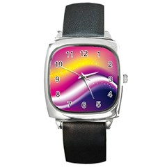 Rainbow Space Red Pink Purple Blue Yellow White Star Square Metal Watch