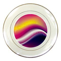 Rainbow Space Red Pink Purple Blue Yellow White Star Porcelain Plates