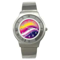 Rainbow Space Red Pink Purple Blue Yellow White Star Stainless Steel Watch