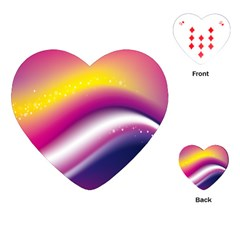 Rainbow Space Red Pink Purple Blue Yellow White Star Playing Cards (Heart)