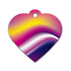 Rainbow Space Red Pink Purple Blue Yellow White Star Dog Tag Heart (Two Sides)