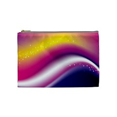 Rainbow Space Red Pink Purple Blue Yellow White Star Cosmetic Bag (Medium)
