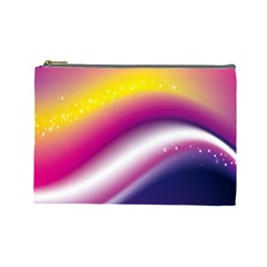 Rainbow Space Red Pink Purple Blue Yellow White Star Cosmetic Bag (Large)