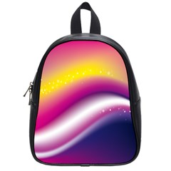 Rainbow Space Red Pink Purple Blue Yellow White Star School Bags (Small)