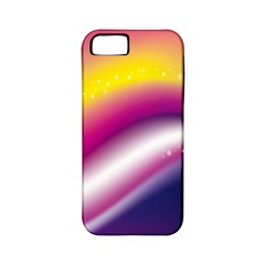 Rainbow Space Red Pink Purple Blue Yellow White Star Apple iPhone 5 Classic Hardshell Case (PC+Silicone)