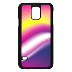 Rainbow Space Red Pink Purple Blue Yellow White Star Samsung Galaxy S5 Case (Black)
