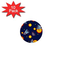 Rocket Ufo Moon Star Space Planet Blue Circle 1  Mini Buttons (10 pack)