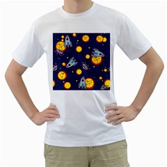 Rocket Ufo Moon Star Space Planet Blue Circle Men s T-Shirt (White) (Two Sided)