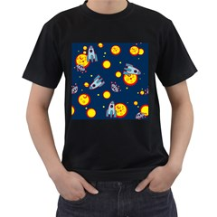 Rocket Ufo Moon Star Space Planet Blue Circle Men s T-Shirt (Black) (Two Sided)