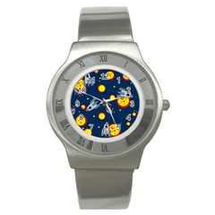 Rocket Ufo Moon Star Space Planet Blue Circle Stainless Steel Watch