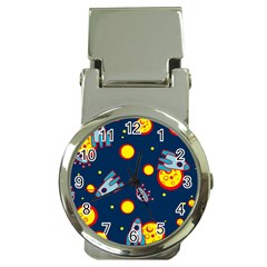 Rocket Ufo Moon Star Space Planet Blue Circle Money Clip Watches