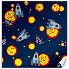 Rocket Ufo Moon Star Space Planet Blue Circle Canvas 12  x 12