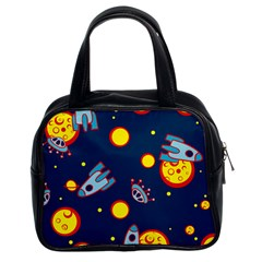Rocket Ufo Moon Star Space Planet Blue Circle Classic Handbags (2 Sides)