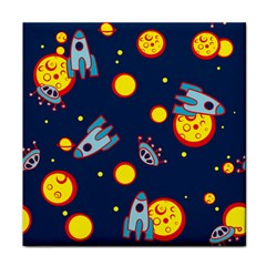 Rocket Ufo Moon Star Space Planet Blue Circle Face Towel