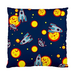 Rocket Ufo Moon Star Space Planet Blue Circle Standard Cushion Case (Two Sides)